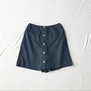 Gold Button Navy Skort